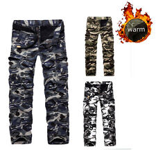 Mens Army Camo Cargo Combat Work Winter Cotton Fleece Lined Long Pants Trousers
