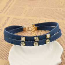 Chokers Necklace Denim Collar Women Jewellery Gift Gothic Evening Party Punk