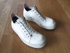 RICK OWENS MILK WHITE CALF LEATHER LOW SNEAKERS 44 SS16