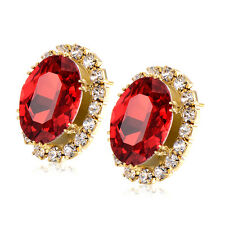 Red Ruby Champagne Square Rhinestone Stud Earrings Vintage Gold Filled jewelry