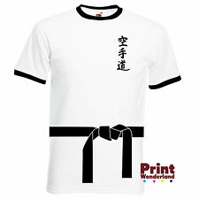 Karate Belt and Karate Text in Japanese White/Black Ringer T-Shirt