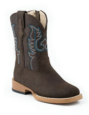 Roper Baby Boys Infant Brown Suede Leather Sq Toe Western Cowboy Boots 6