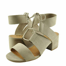 Women's Shoes Qupid Jaden 08 Caged Lace Up Chunky Heel Sandals Taupe *New*