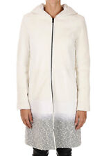 DROMe New Woman White Shearling Leather Coat Lamb Hooded Made In Italy
