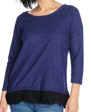 NEW - Kate & Mallory Marled Knit Self-Tie Back Ruffle Trimmed Top - Sz XL, 1X