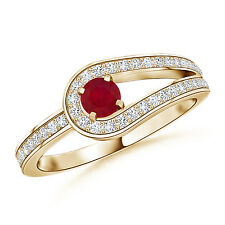 Solitaire Round Natural Ruby Diamond Knot Engagement Ring 14k Yellow Gold Size 7