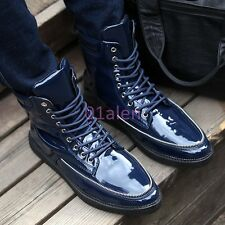 Mens Ankle Boot Lace Up Military Shiny Leather Punk Cowboy Sneaker Shoes Sport