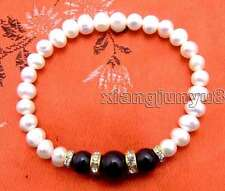 "SALE 6-7mm white Natural Pearl and black natural Round Agate 7.5"" bracelet-br285"
