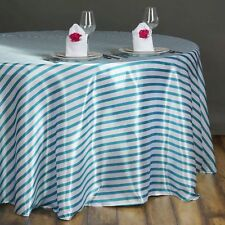 90 in. Satin Round Striped Seamless Tablecloth~Wedding~NEW