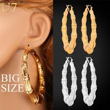 U7 Big Bamboo Hoop Earrings Gold Plated Fashion Jewelry Trendy Basketball Wives