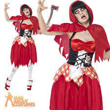 Red Riding Hood Zombie Costume Ladies Adult Halloween Fancy Dress Outfit 8-18
