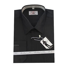 Solid Mens Dress Shirt French Convertible Cuff Boltini Italy - Black