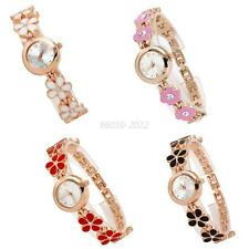 Lovely Women Flower Rose Bracelet Wrist Watch Girls Golden Quartz Wrist Watch UK