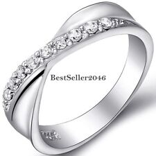 Silver Infinity Rhinestone Cubic Zirconia Womens Wedding Engagement Band Ring