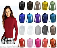 NEW WOMENS LADIES LONG SLEEVE TURTLE POLO NECK TOP JUMPER 8-26