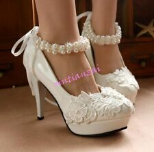 Bridal Womens Ankle Strap High Heels Wedding Party White Beads Shoes Floral Chic