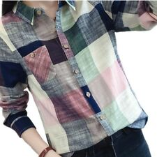 Female Casual Cotton Long Sleeve Plaid Shirt Women Slim Outerwear Blouse Tops Bl