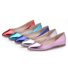 Women's Slip On Patent Leather Flat Shoes Rubber Pointed Toe Ballet Loafer Shoes