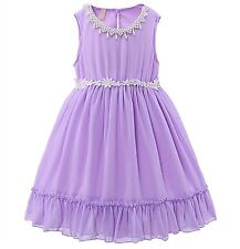 Baby Girls Summer Chiffon Dress Purple Princess Recital Pageant Birthday Party