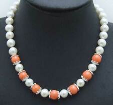 "SALE round 6-7mm natural white pearl and 9-10mm pink coral 17"" Necklace-nec5891"