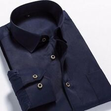12 Colors Mens Long Sleeve Square Collar Solid Slim Business Casual Dress Shirt