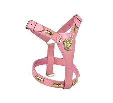 STAFFORDSHIRE BULL TERRIER PINK LEATHER DOG HARNESS STAFF STAFFIE STAFFY BRASS