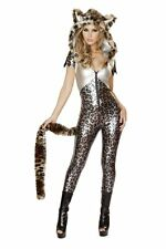 J. Valentine Silver Leopard Hooded Catsuit with Tail Halloween Costume CA143