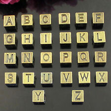 "10x Bronze Tone Alloy Alphabet Letter ""A to Z"" Cube Euro Beads 7X7mm Slide Charm"
