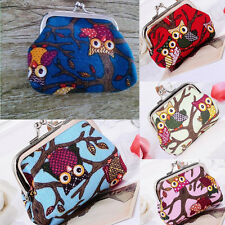 Convenient Owl Canvas Design Hasp Pouch Coin Money Purse Wallet For Girls Gift