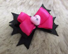 """Mo's USA Dog Bows- 3/8"""" xsmall Boutique Dog Bow hot pink black -Teacup Yorkie+"""