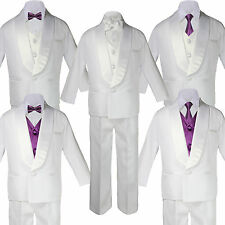 Baby Teen White Satin Shawl Lapel Suits Tuxedo EGGPLANT Satin Bow Necktie Vest