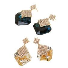 Women Jewelry Gorgeous Pair of Crystal Rhinestone Geometry Drop Stud Earrings