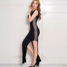 Sleeveless women dress back draped lace dress new side open elegant long dress