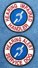 HEARING IMPAIRED HANDLER ALERT SERVICE DOG PATCH 3 IN Danny & LuAnns Embroidery