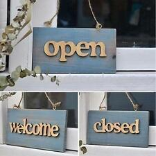 Vintage Wooden Board Plank Sign Plaque Window Decor Closed/Welcome/Open