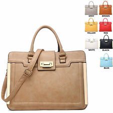 Ladies Briefcase Style Faux Leather Handbag Work Bag Shoulder Bag Satchel 34337