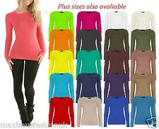 New Ladies  Long Sleeve Stretch Plain Round Scoop Neck T Shirt Top Vest UK 8-26