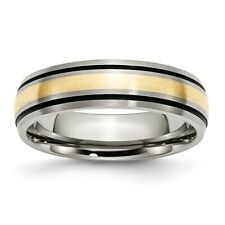 Chisel 6mm Brushed Titanium Black Grooved & 14k Yellow Inlay Band Size 6 to 13