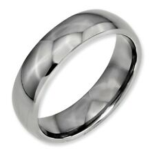 Chisel 6mm Polished Titanium Half-Round Band Size 5 to 16