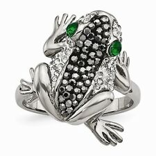 Chisel Polished Stainless Steel Frog With Green Crystal Eyes Ring Size 6 to 9