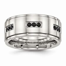 Chisel 9mm Polished Stainless Steel Ridged Edge Black CZ Band Size 8 to 14