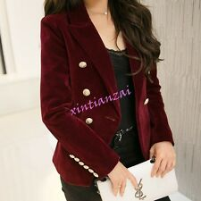 Womens Double Breasted Velvet Short Lapel Formal Coats Jackets Suit Casual Chic