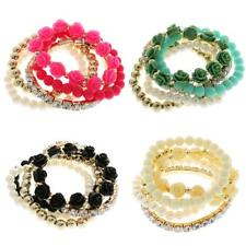 Fashion Girl Multilayer Rose Flower Sweet Candy Elastic Bracelet Jewellery Beads