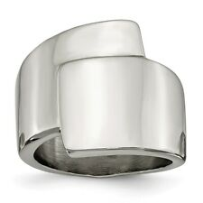Chisel Stainless Steel Polished Wrap Style Ring Size 6 to 9