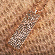 Hollow  Pendant  rectangle  Necklace  Crystal  Long chain Statement  Fashion