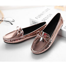 Patent Womens Comfort Slip On Flats Ballet Loafers Bowknot Round Toe Boat Shoes