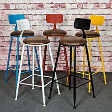 INDUSTRIAL VINTAGE RETRO RUSTIC URBAN STYLE METAL BAR STOOL CAFE CHAIR WITH BACK
