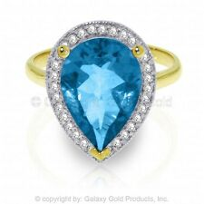 Genuine Blue Topaz Pear Cut Gem Diamonds Halo Ring 14K. Yellow, White, Rose Gold