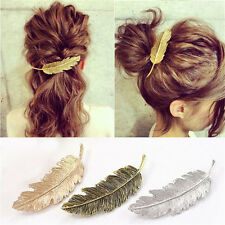 Fashion Women Gold/Silver Leaf Feather Hair Clip Hairpin Barrette Bobby Pins 1pc