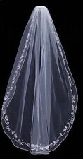 New 1 layer White/Ivory fingertip Wedding Bridal veil with beads+comb